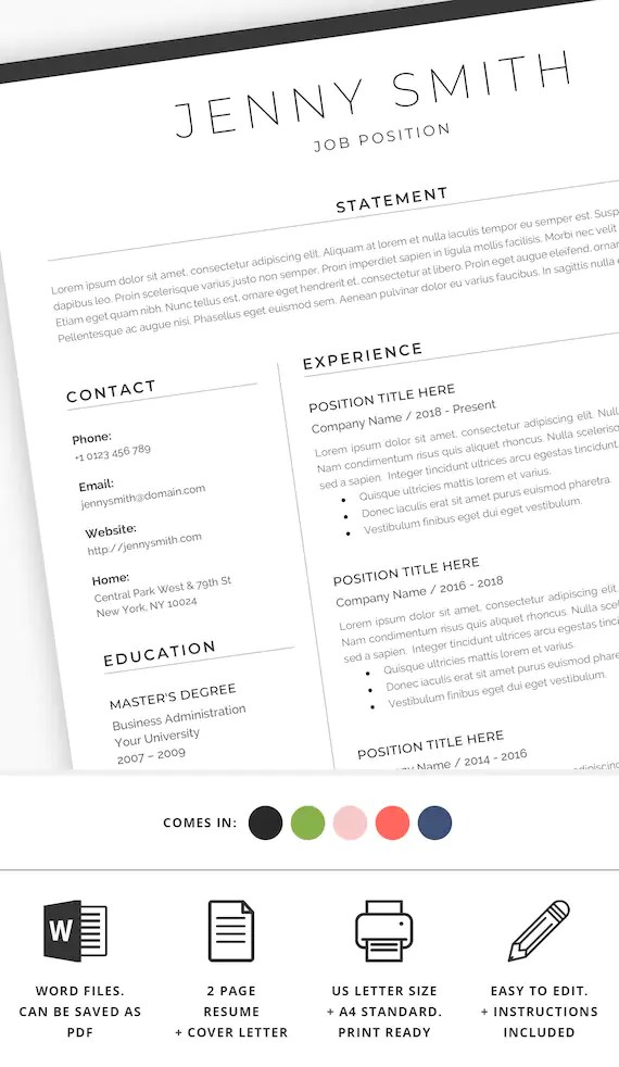 Resume Template Word Professional 1 Page Resume 2 Page Resume Etsy