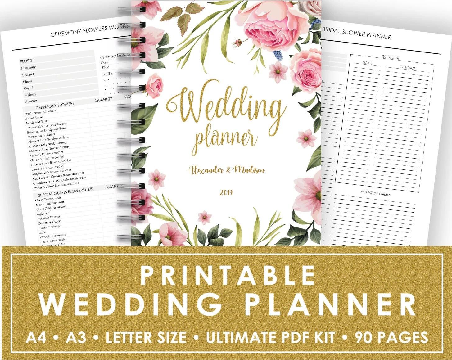Wedding Planner Printable Wedding Planner Wedding Binder DIY Etsy