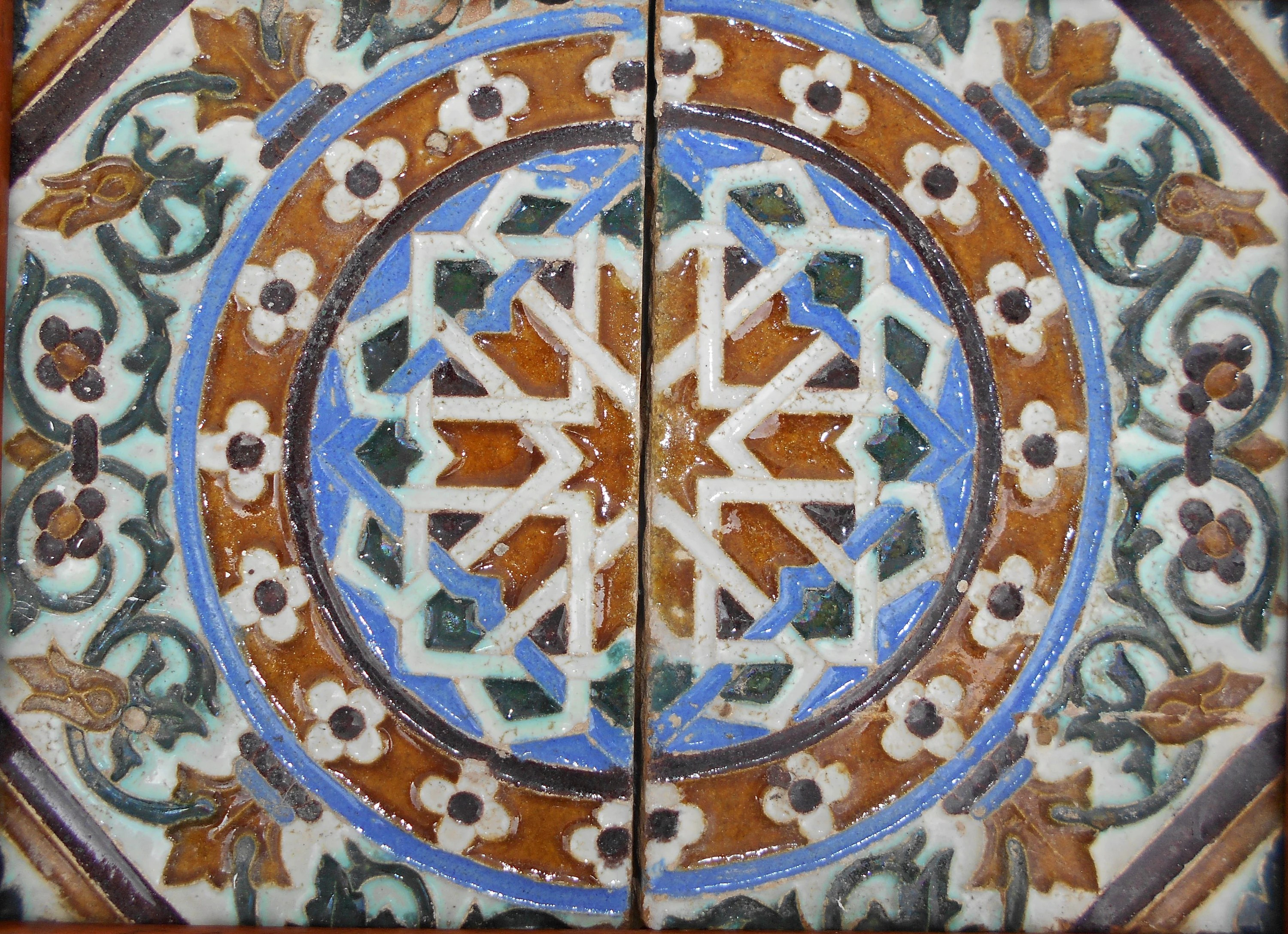 Azulejos Sevilla Pair 2 Azulejos Tiles Antique Spain 18th 19th Century Seville Sevilla Spain Antique Spanish Moorish