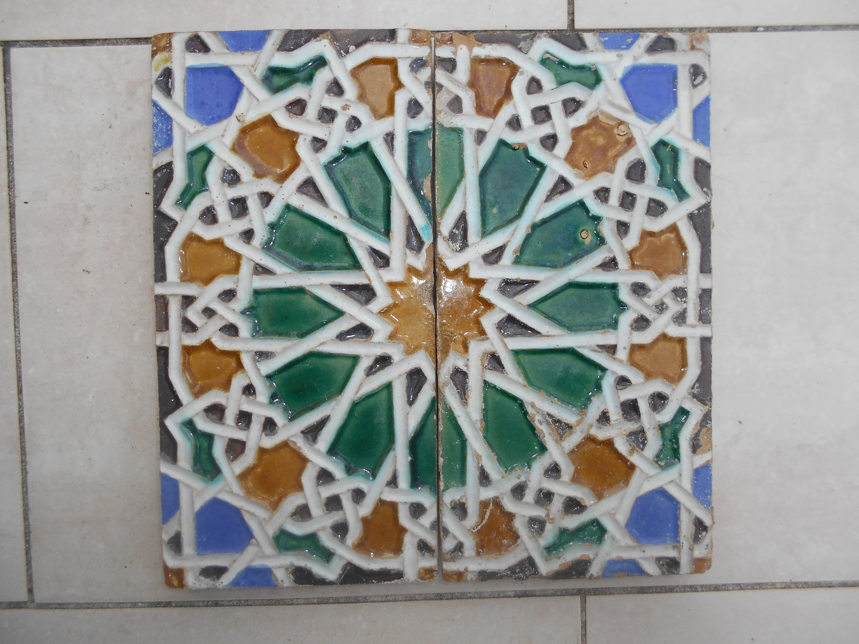 Azulejos Sevilla Pair 2 Azulejos Tiles Antique Spain 19th Century Seville Sevilla Spain Antique Spanish Moorish