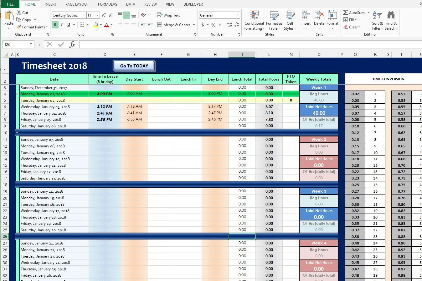Microsoft Excel 2019 TIMESHEET Yearly Time Tracker INSTANT Etsy