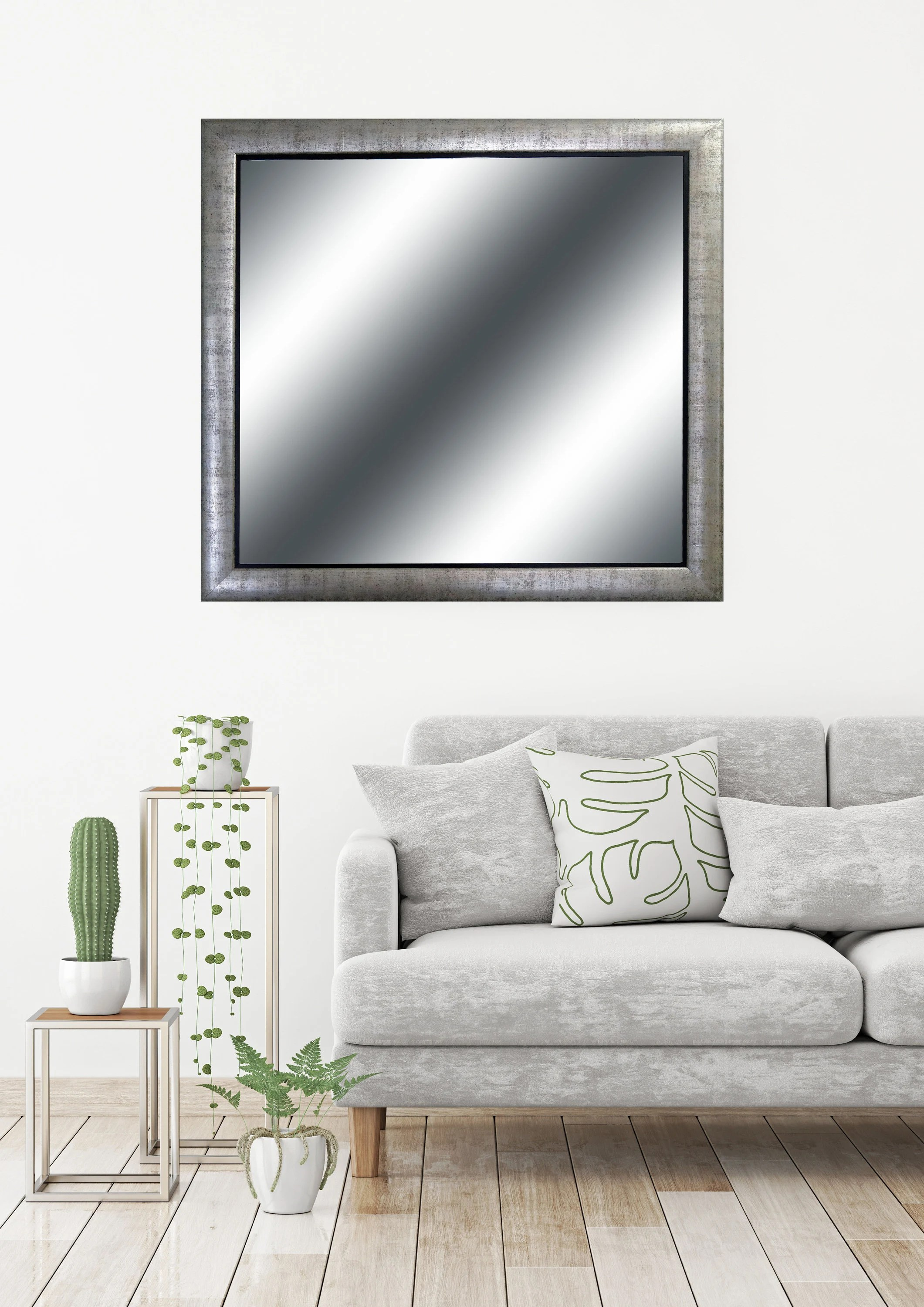 Silver Leafed Framed Mirror Square Wall Mirror Bathroom Etsy