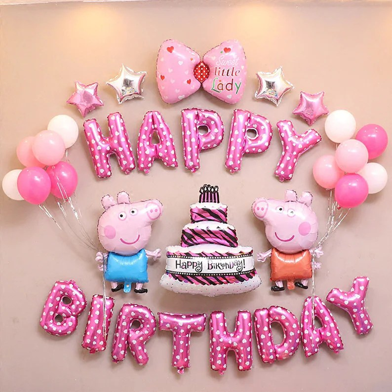 CuteTrees peppa pig pink Theme birthday party balloons party Etsy