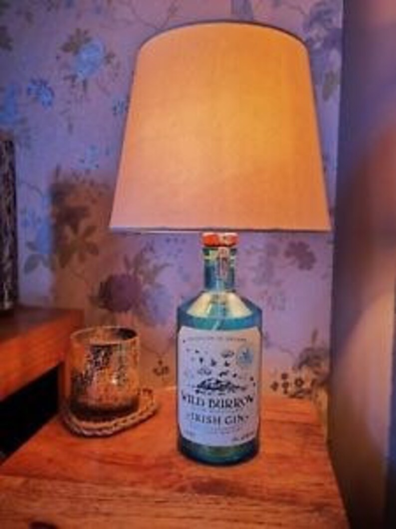 Glass Lamp Tables Ireland Pale Blue Wild Burrow Irish Gin Bottle Table Lamp Etsy