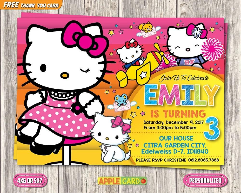 Hello Kitty Invitation Hello Kitty Birthday Invitation Hello Etsy