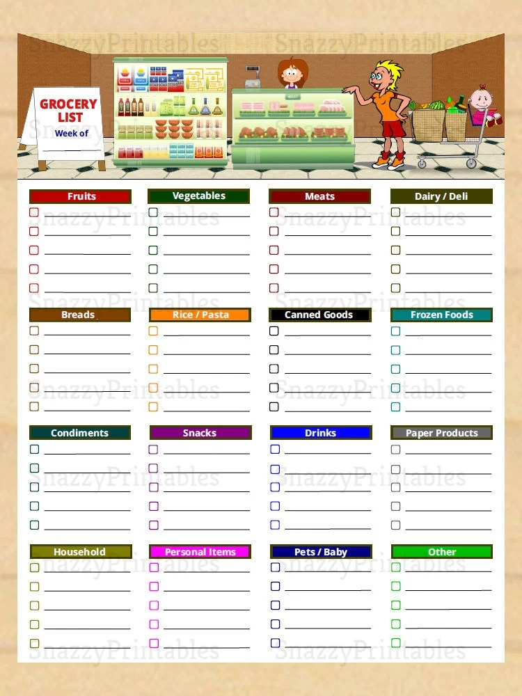 Printable Grocery List with Categories Grocery Shopping List Etsy