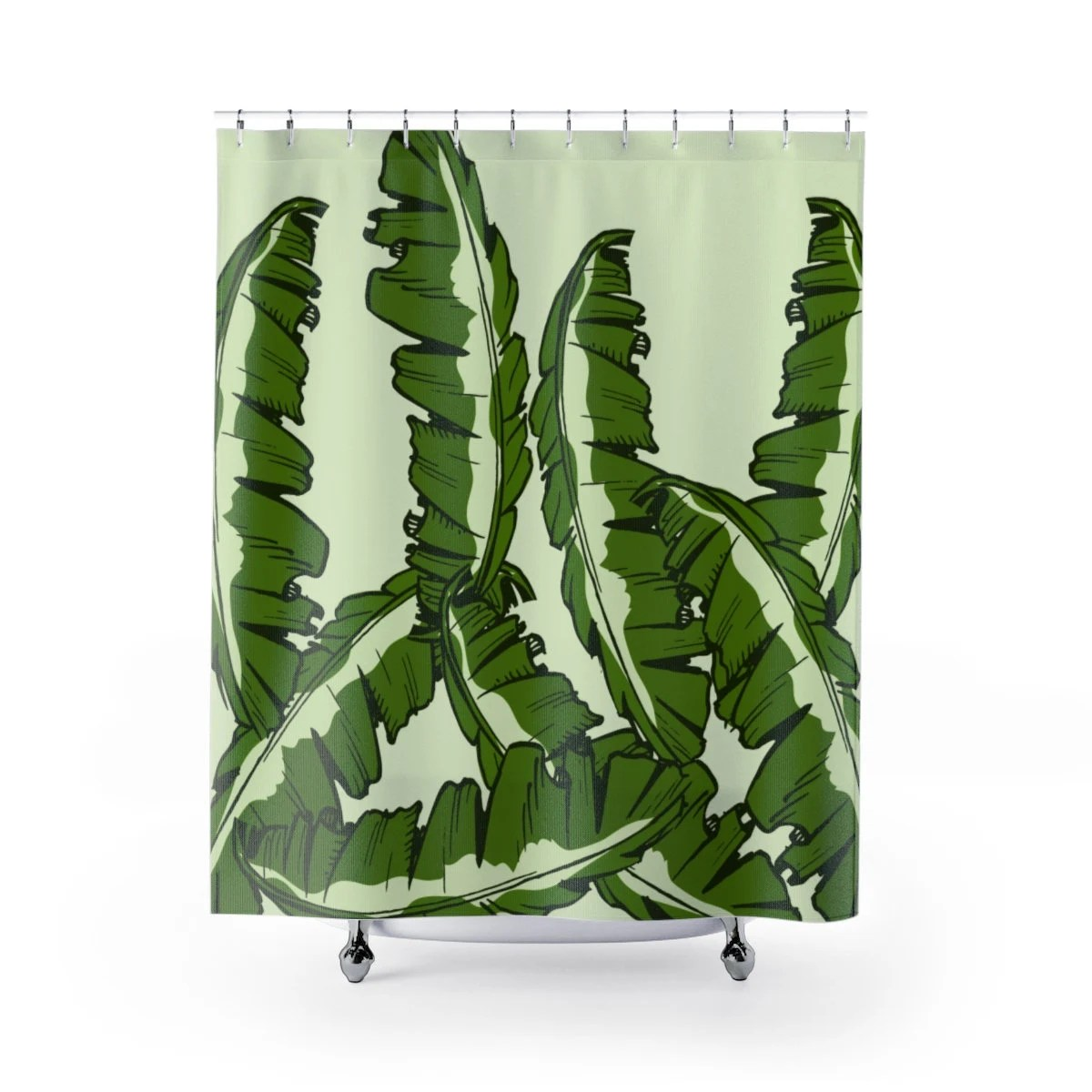 Banana Leaf Shower Curtain Tropical Jungle Banana Leaves Shower Curtains