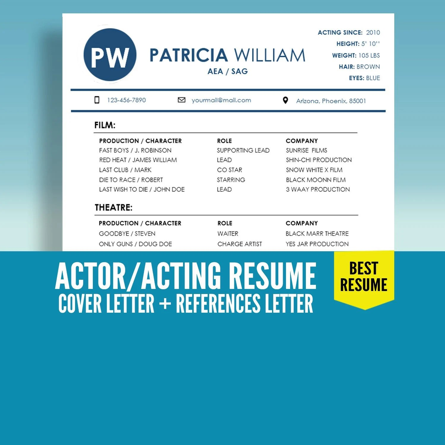 ON Sale Actor Resume Template Acting Resume Template Etsy