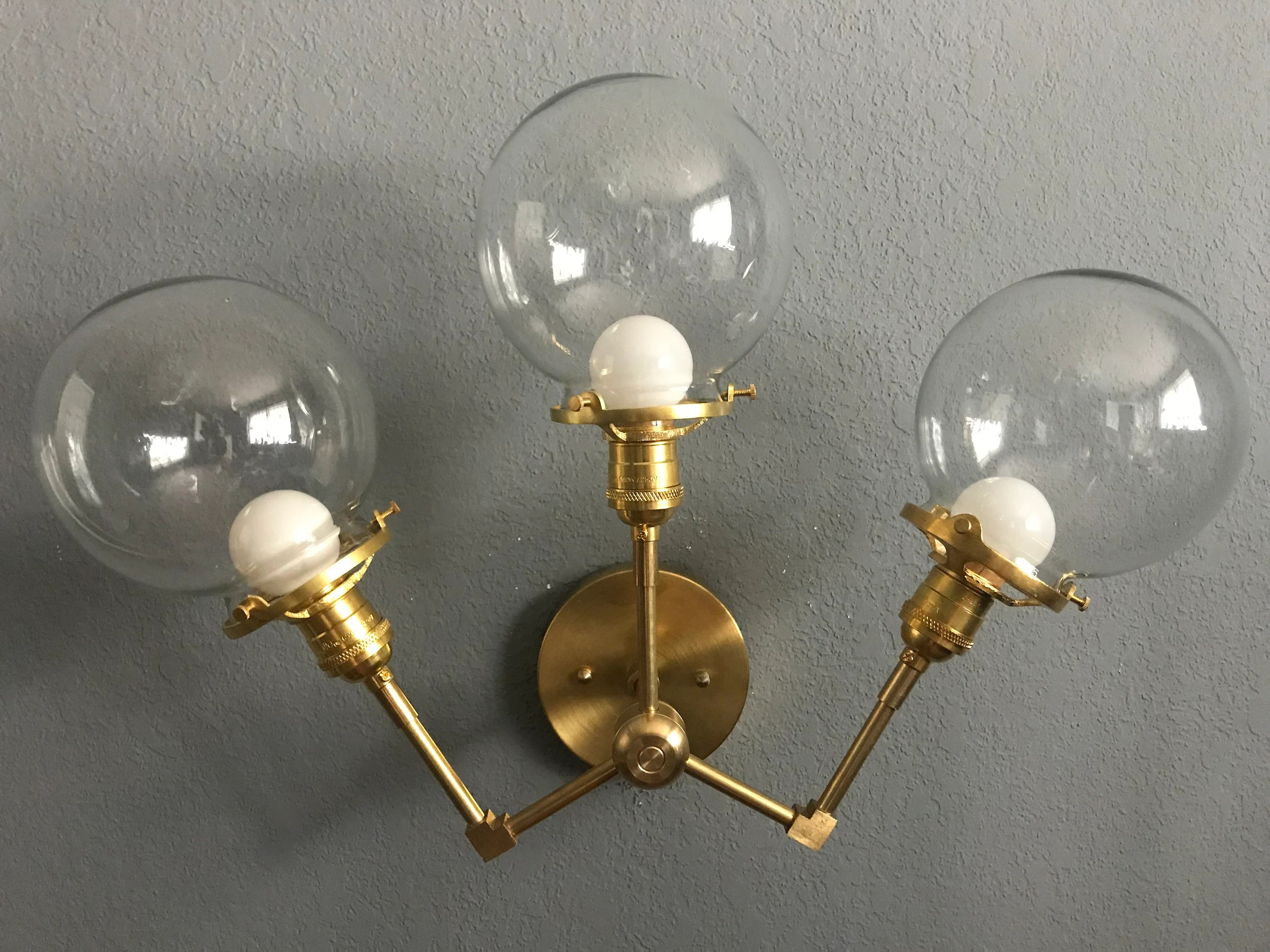 Modern Industrial Bathroom Vanity Gold Raw Brass 3 Lights 6 Inch Clear Globes Wall Sconce Modern