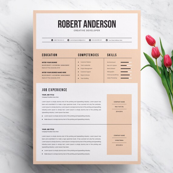 Modern Creative Resume Template for MS Word Format CV Etsy