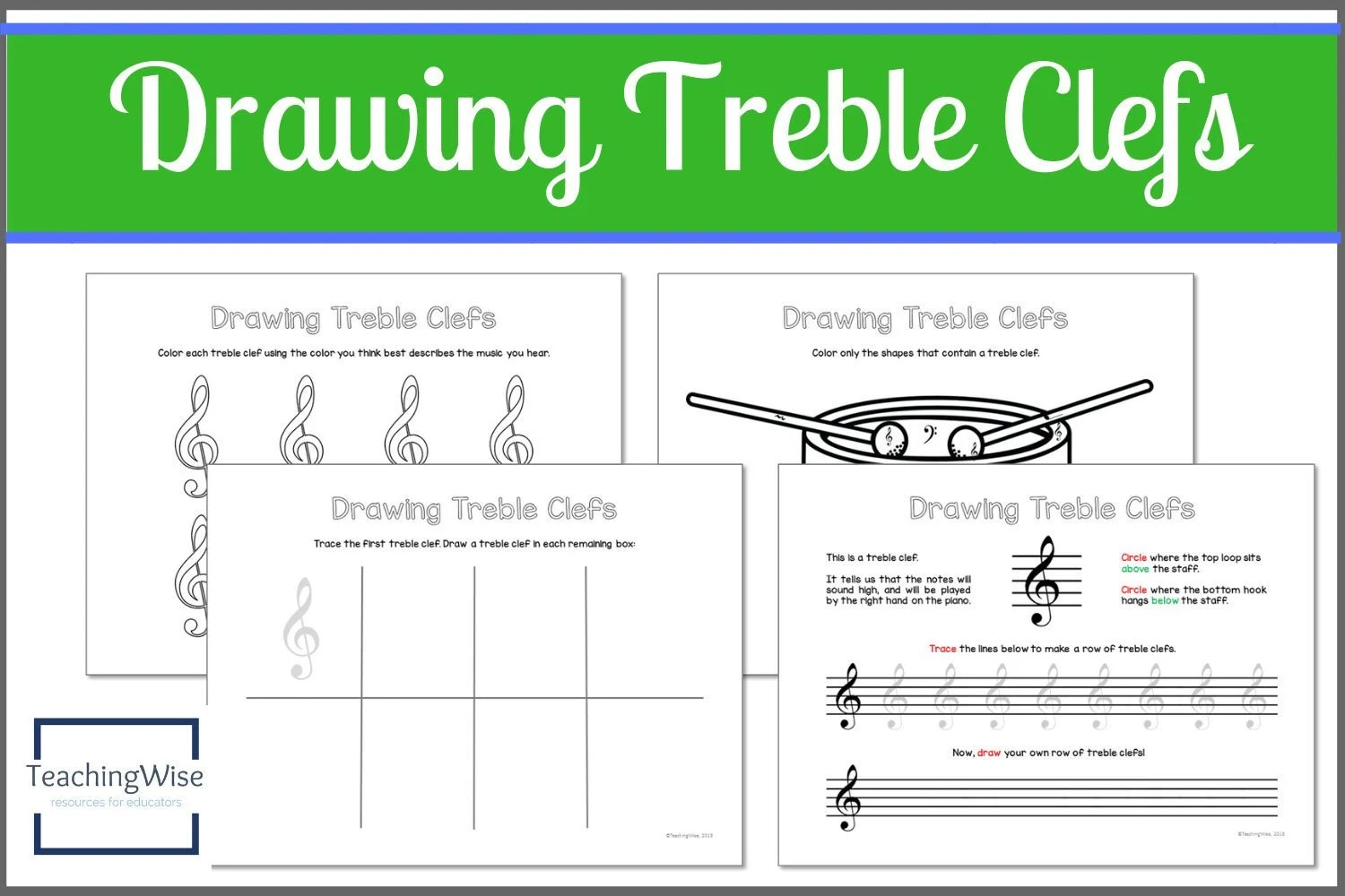 Printable Drawing Treble Clefs Worksheet Set music theory Etsy