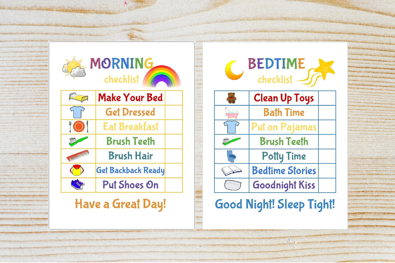 Kids Morning/Bedtime Checklist Printable Chore Chart-Kid Etsy