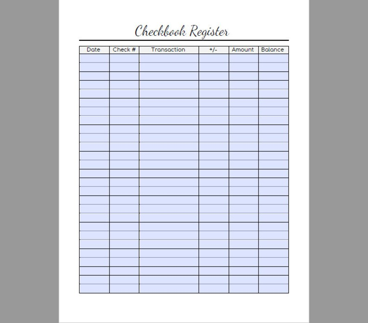 Checkbook Register Printable Expense Register-Finance Etsy