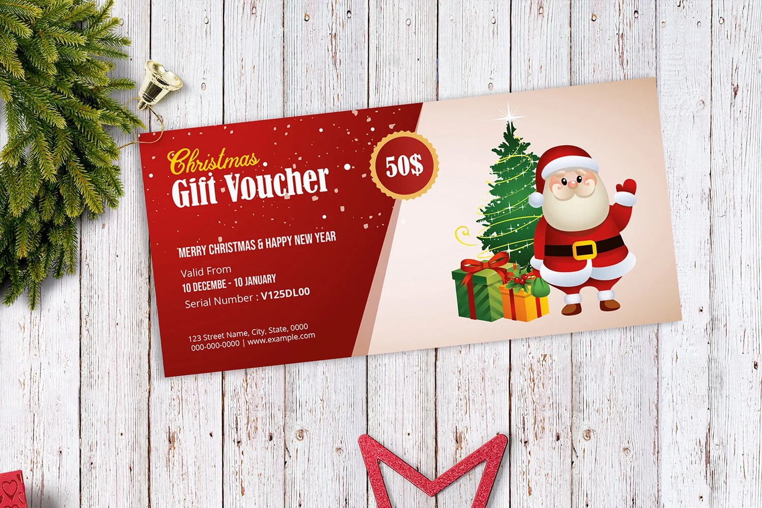 Christmas Gift Voucher Template Holiday gift voucher Etsy