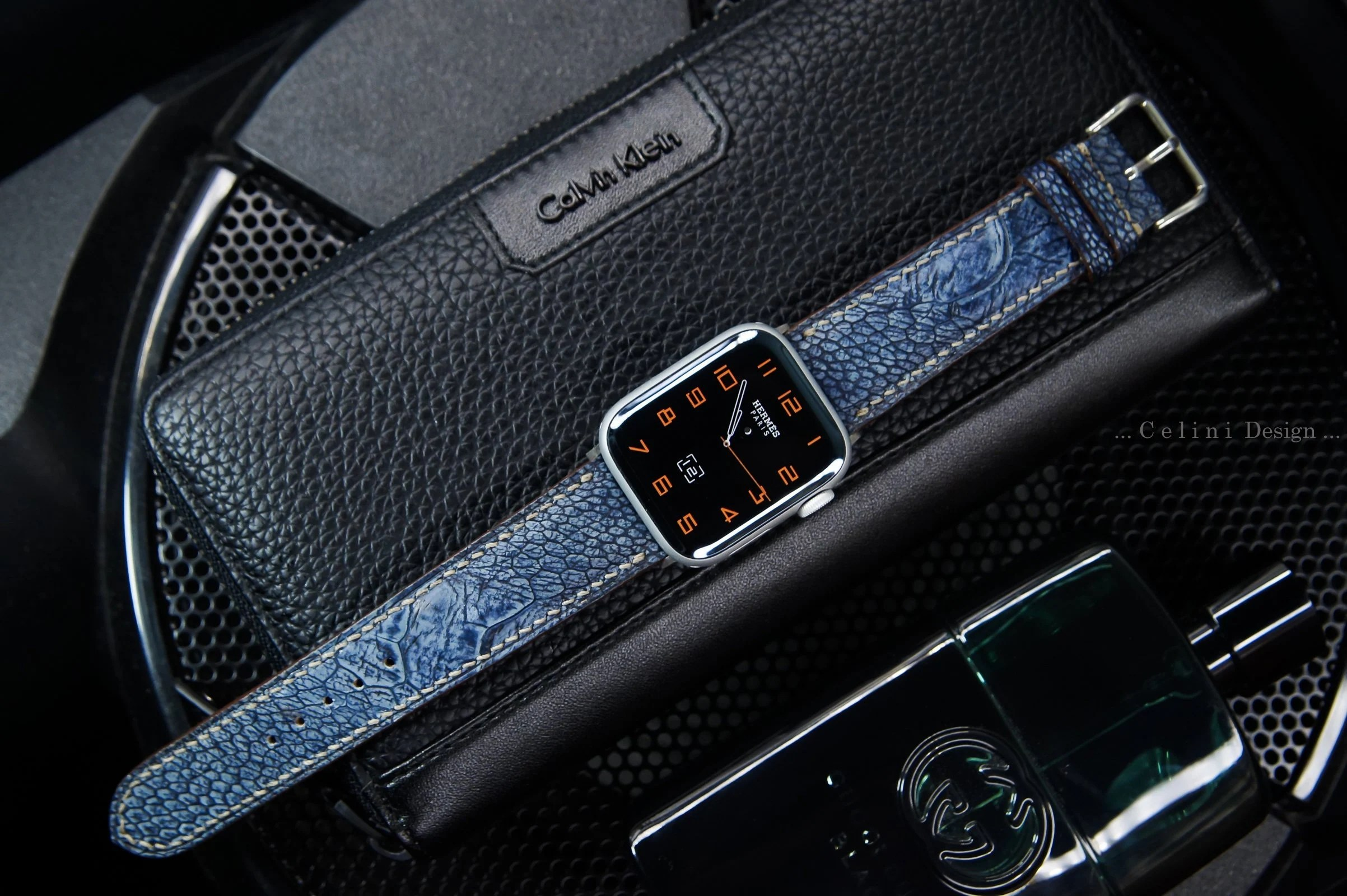 Carbon Kleur Stone Washed Ostrich Leather Apple Watch Band 44mm 40mm 42mm 38mm Apple Watches Series 4 3 2 1 Sport Edition Nike Apple Watch 4 Band