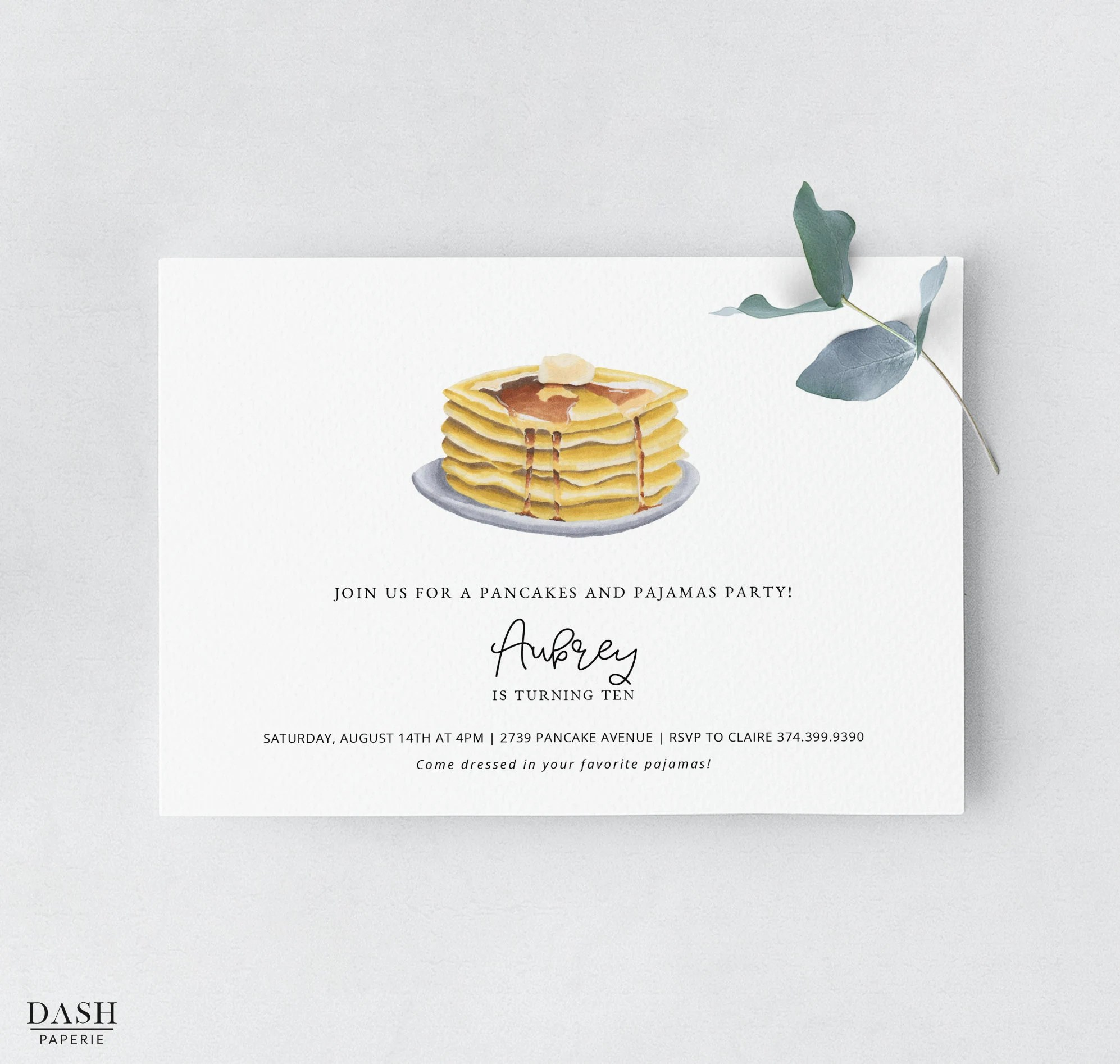 Pancakes and Pajamas Birthday Invitation Template Pancakes Etsy