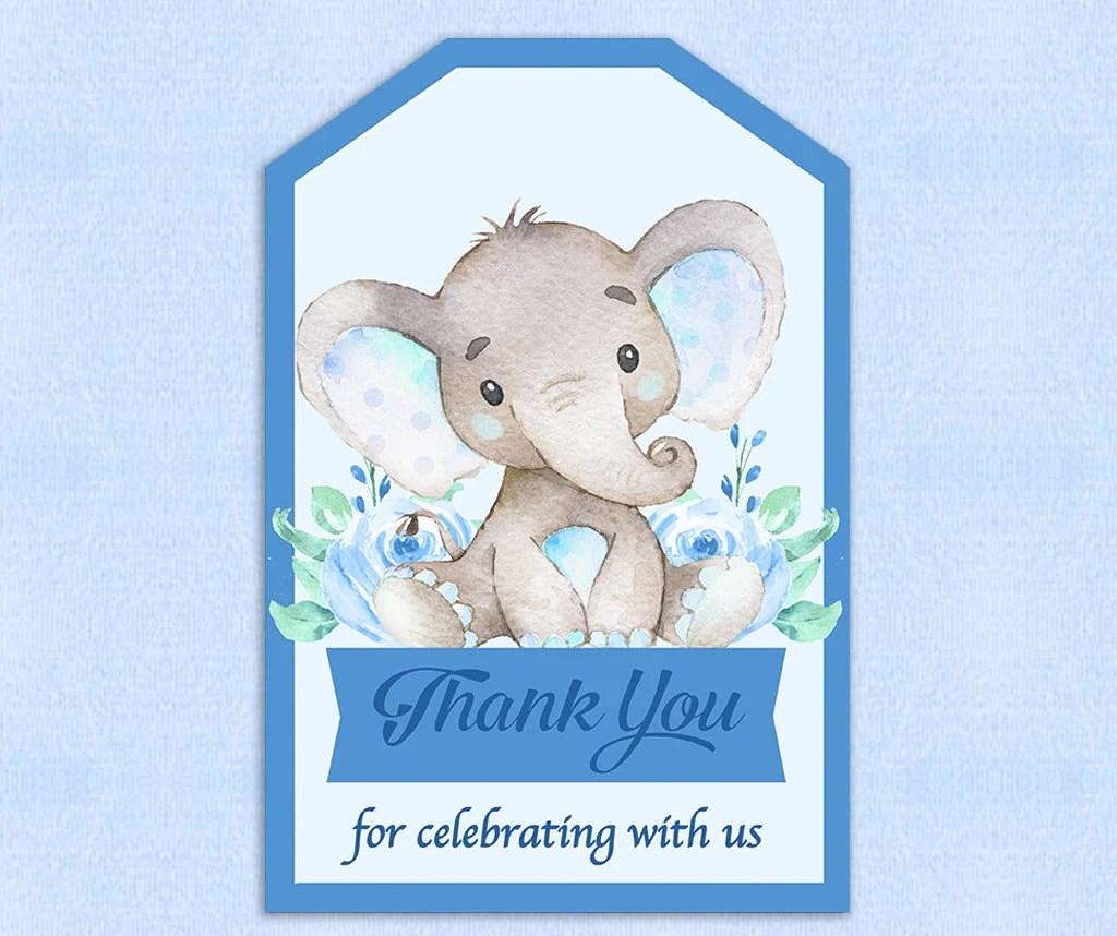 Baby boy decor elephant baby shower thank you card thank Etsy