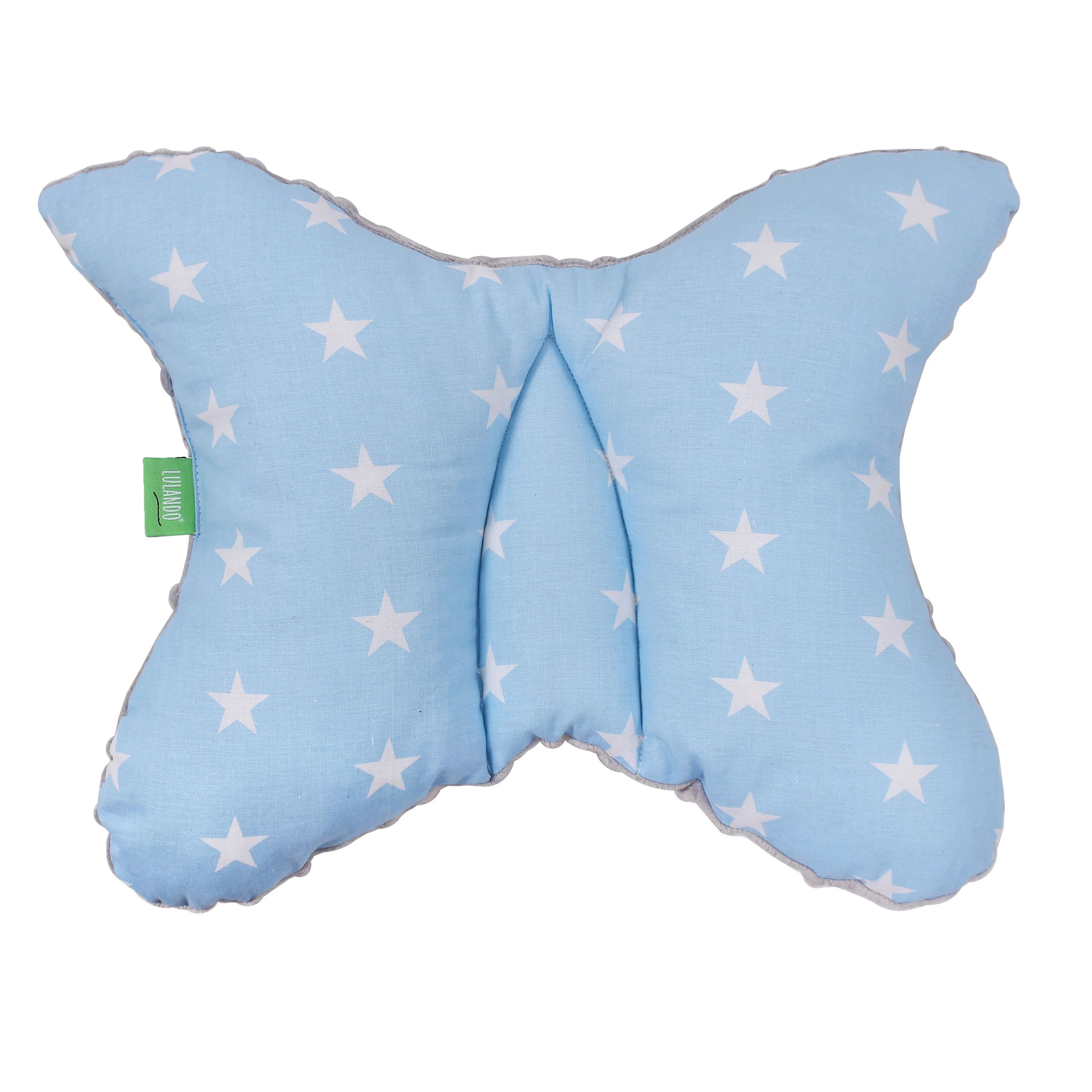 Baby Schlafkissen Lulando Super Soft Minky Pram Pillow Baby Pillow Head Support Pillow Pram Cushion Pillow For Newborns And Babies Grey White Stars Blue