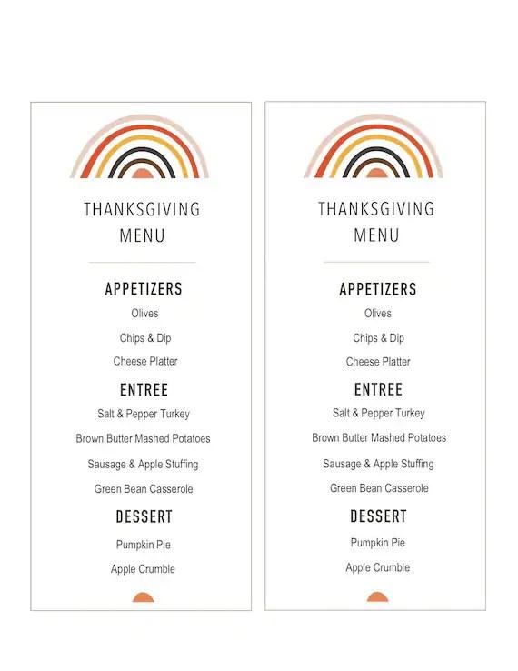 Thanksgiving Menu Printable Menu Editable Thanksgiving Menu Etsy
