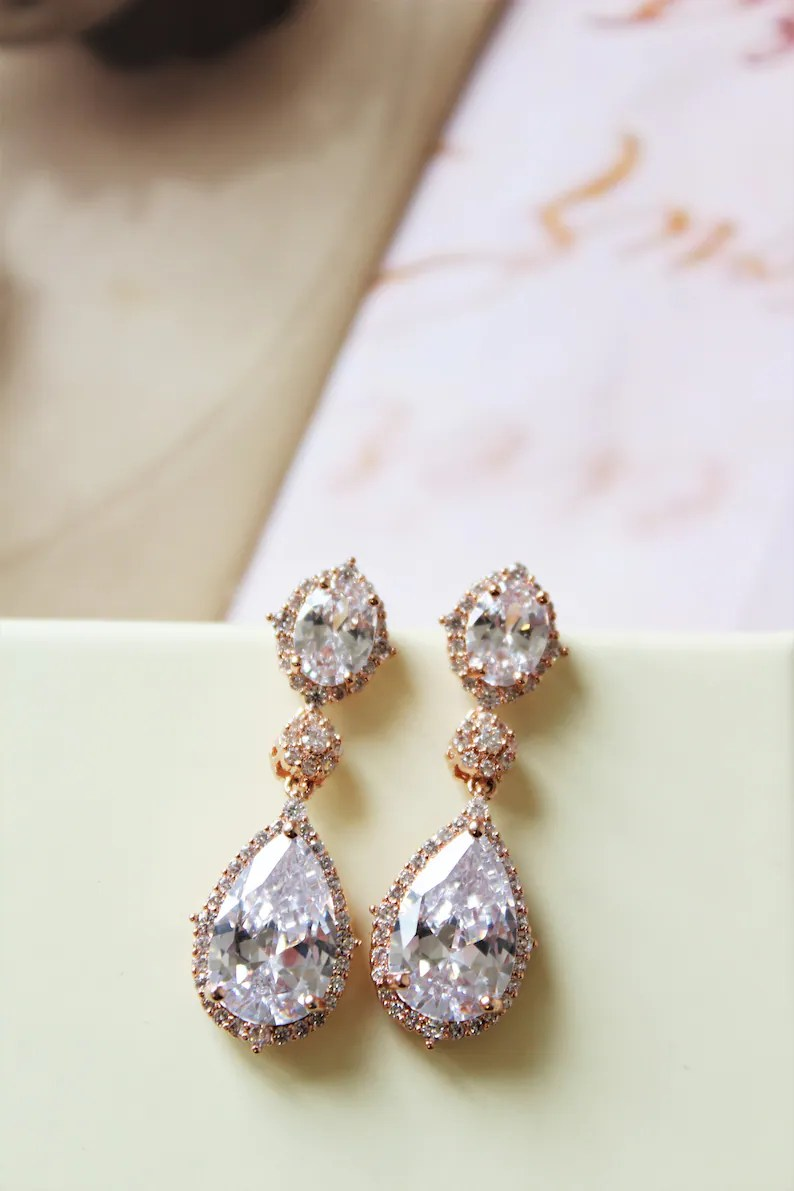 Art Deco Style Earrings Uk Rose Gold Vintage Style Bridal Earrings Art Deco Crystal Earrings Wedding Earrings Crystal Teardrop Earrings Bridal Jewelry Uk