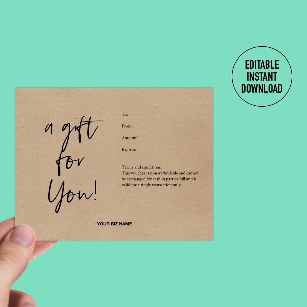 Gift Certificate Templates Printable Gift Certificate Etsy