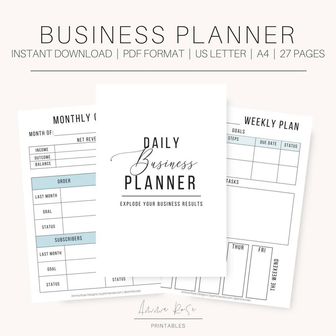 Small Business Planner Small Business Printable Planner Etsy
