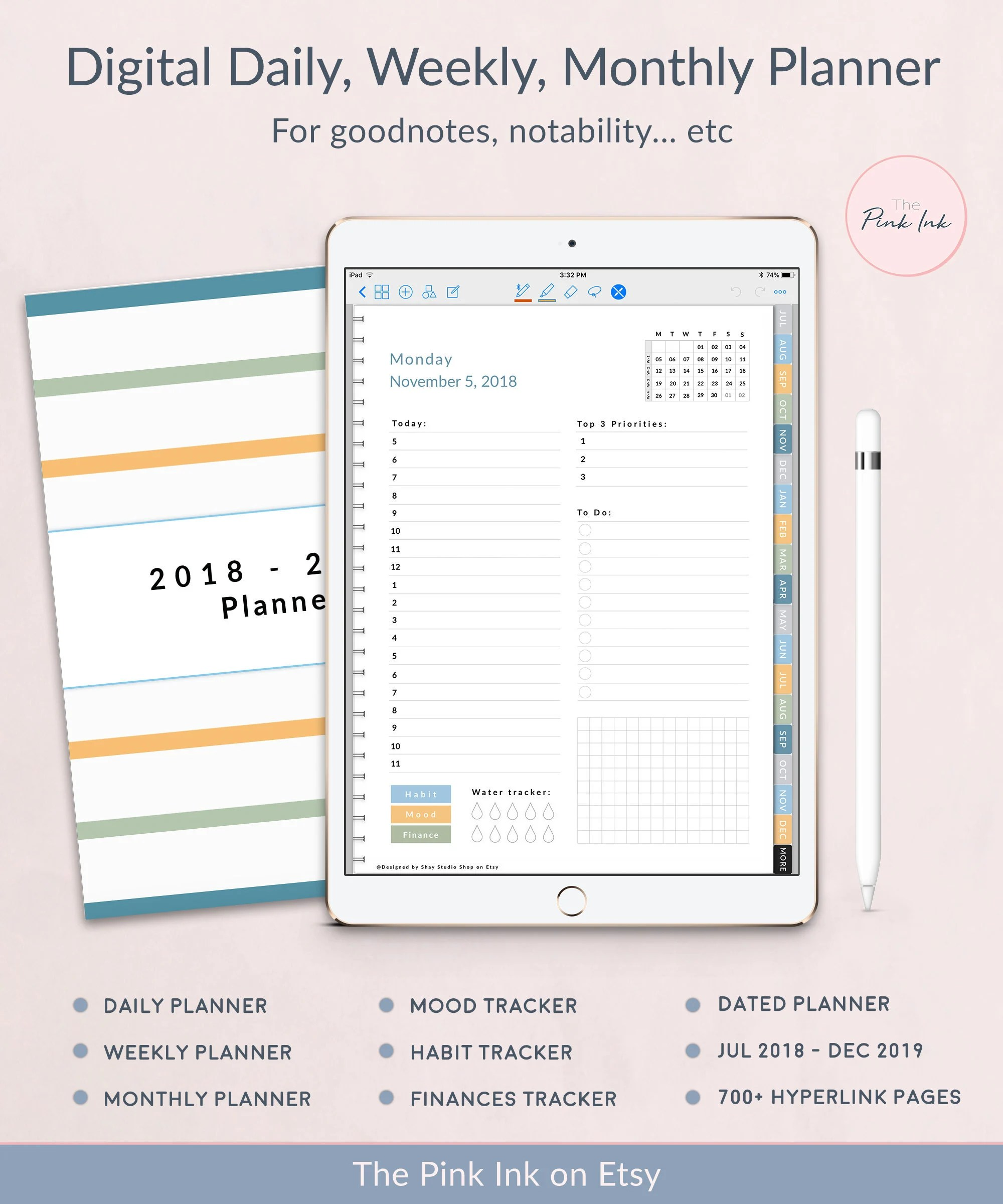 2018 2019 Dated Digital Daily planner Weekly Planner Etsy
