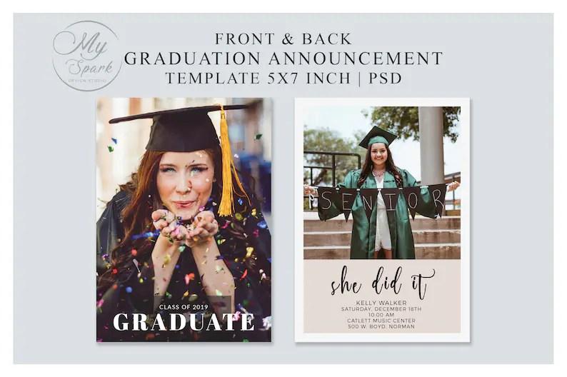 Graduation Announcement Template High school College Senior Etsy