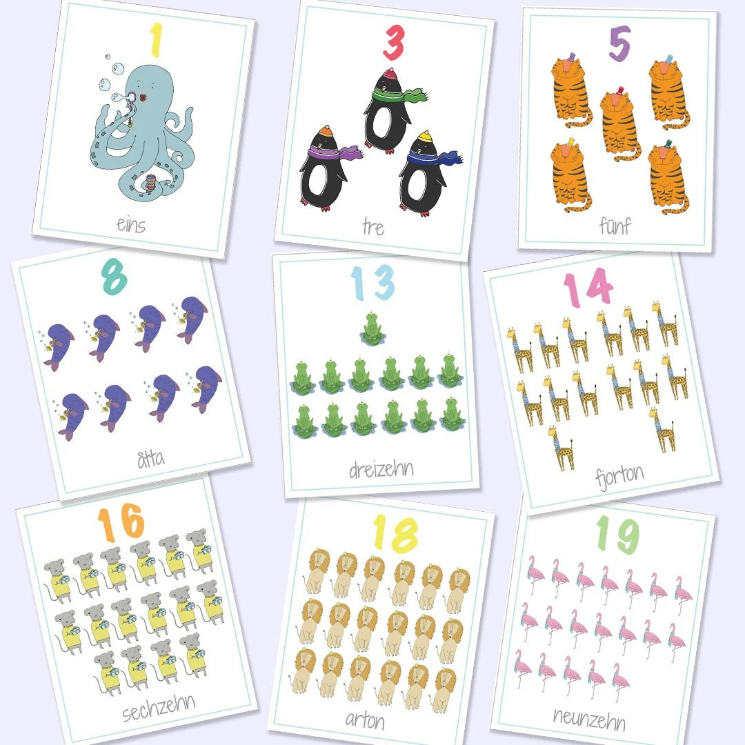 German Swedish Bilingual Numbers Flash Cards 1-20 Printable Etsy