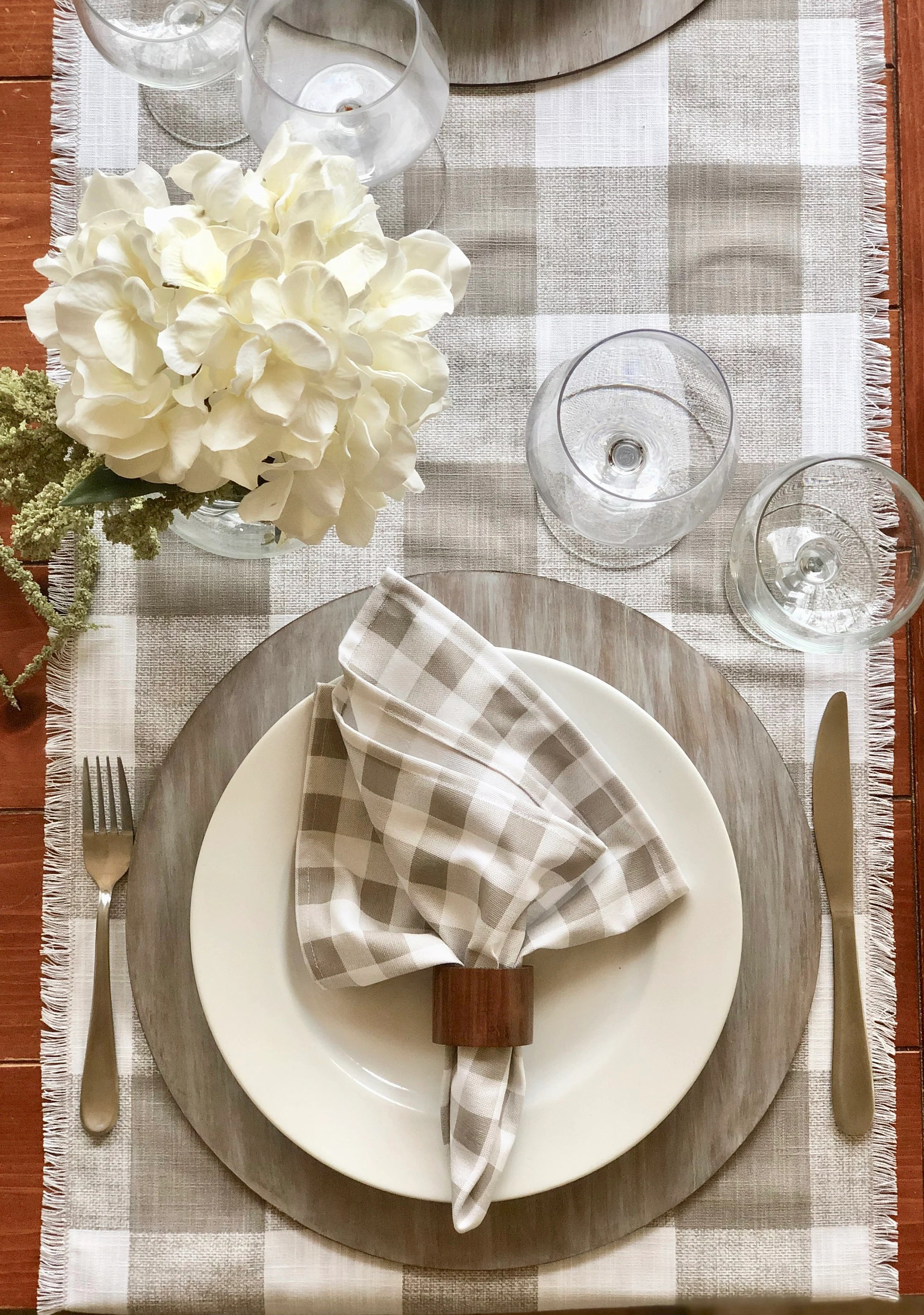 Plaid Taupe Plaid Taupe And White Linen Table Runner With Fringes Buffalo