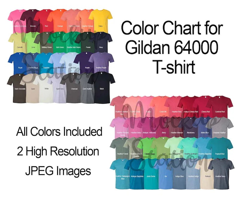 Color Chart for Gildan 64000 T-shirt Template Digital Color Etsy