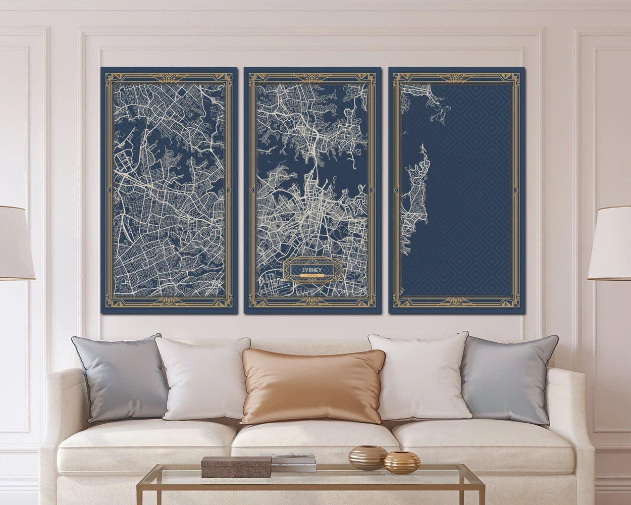 Wall Prints For Living Room Australia Sydney Australia Map Art Deco Canvas Print Map Wall Art Canvas Print Ready To Hang For Home Decor Art Deco Map Style