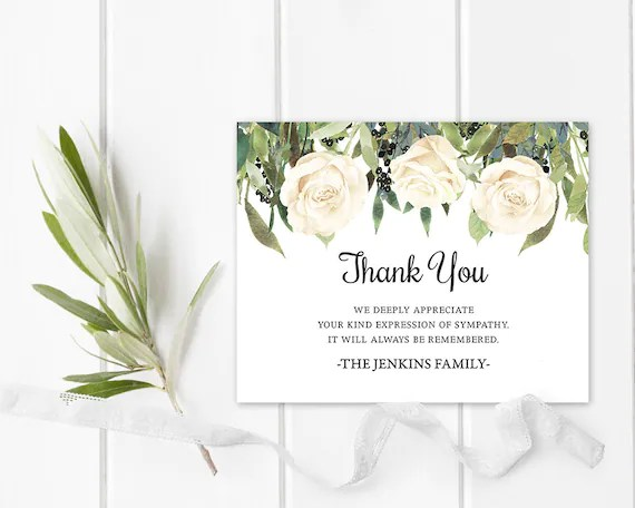 White Floral Funeral Thank You Card Memorial Service Printable Etsy
