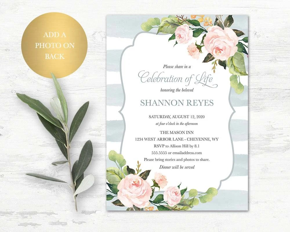 Celebration of Life Invitation Funeral Announcement Memorial Etsy