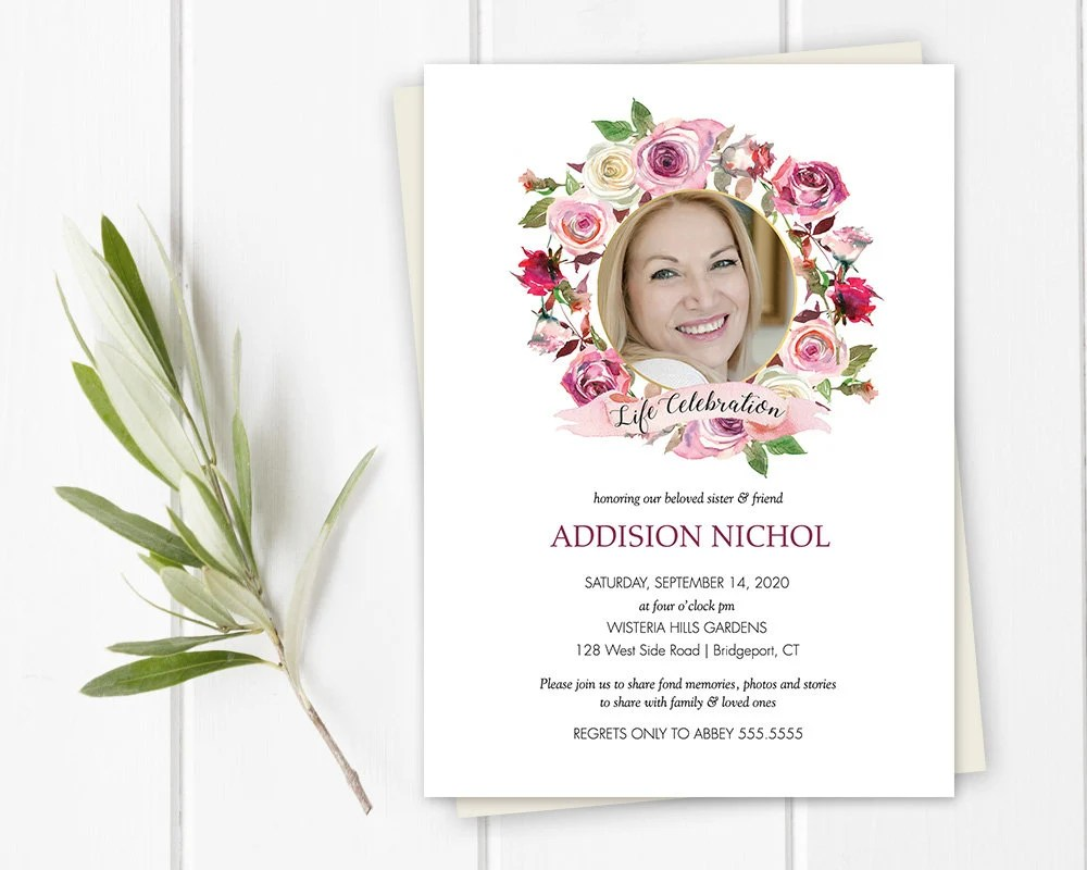 Funeral Invitation Funeral Announcement Template Etsy