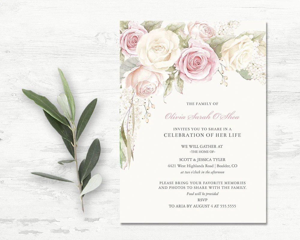 Floral Funeral invitation Funeral Announcement Card Etsy