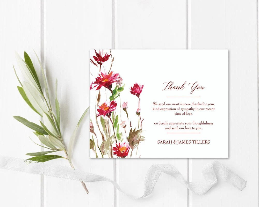 Floral Sympathy Thank You Card Memorial Service Printable Etsy