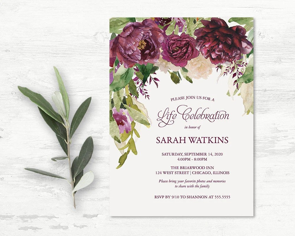 Celebration of Life Invitations Funeral Announcement Memorial Etsy