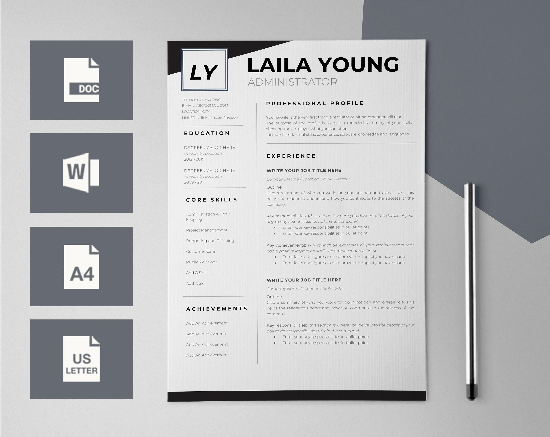 Resume Template for Word CV Template CV design Modern Etsy