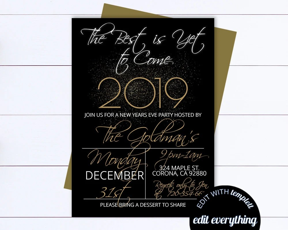 New Years Eve Party Invitation Template Black And Gold Etsy
