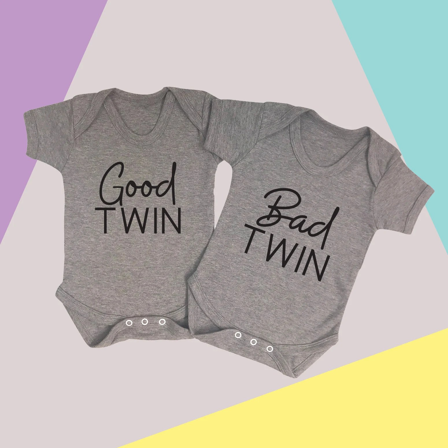 Bad Set For Baby Good Twin Bad Twin Good Twin Bad Twin Set Twin Baby Vest Set Twin Babygrows New Baby Gift Twins Christmas Baby Twins Funny Twin