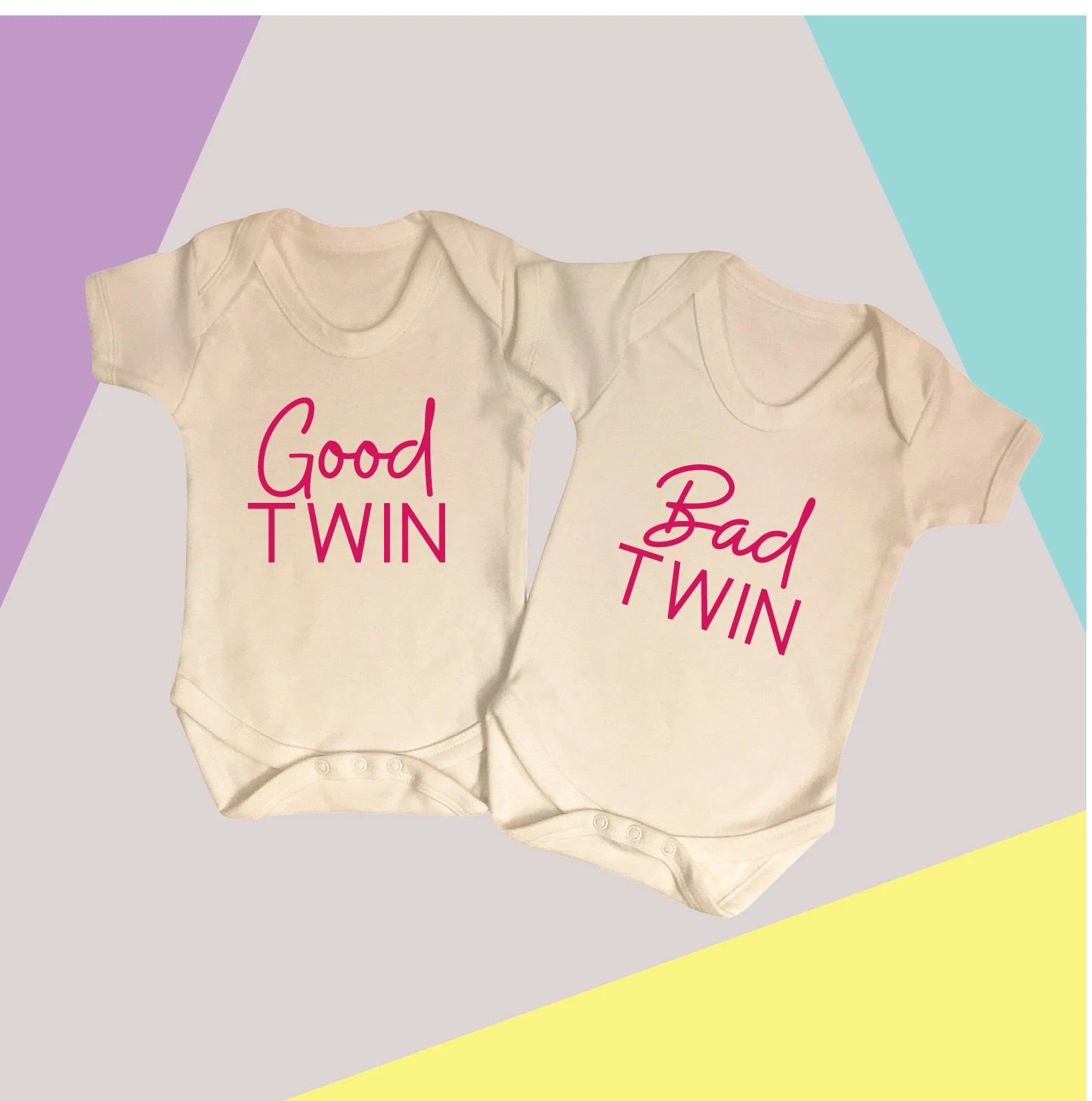 Bad Set For Baby Good Twin Bad Twin Good Twin Bad Twin Set Twin Baby Vest Set Twin Babygrows New Baby Gift Twins Twin Baby Shower Funny Twin