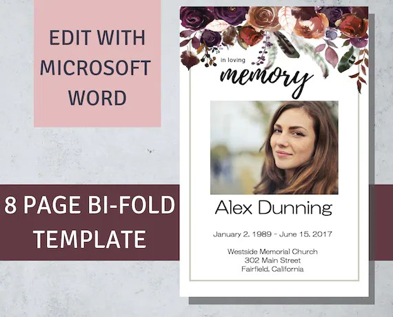 Printable Funeral Program Template Plum Flowers Funeral Etsy