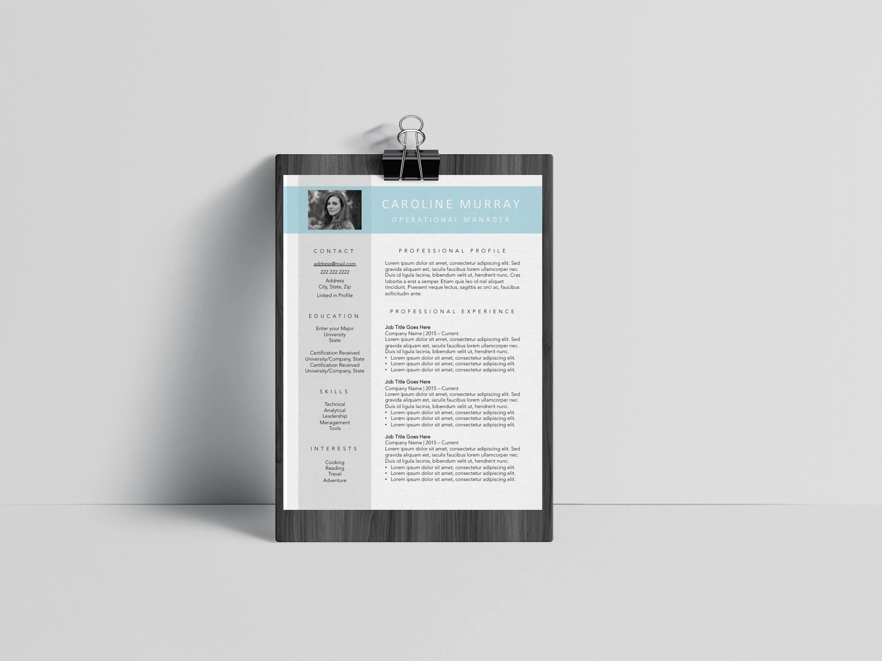 Resume and Cover Letter Template Professional Photo Resume Etsy