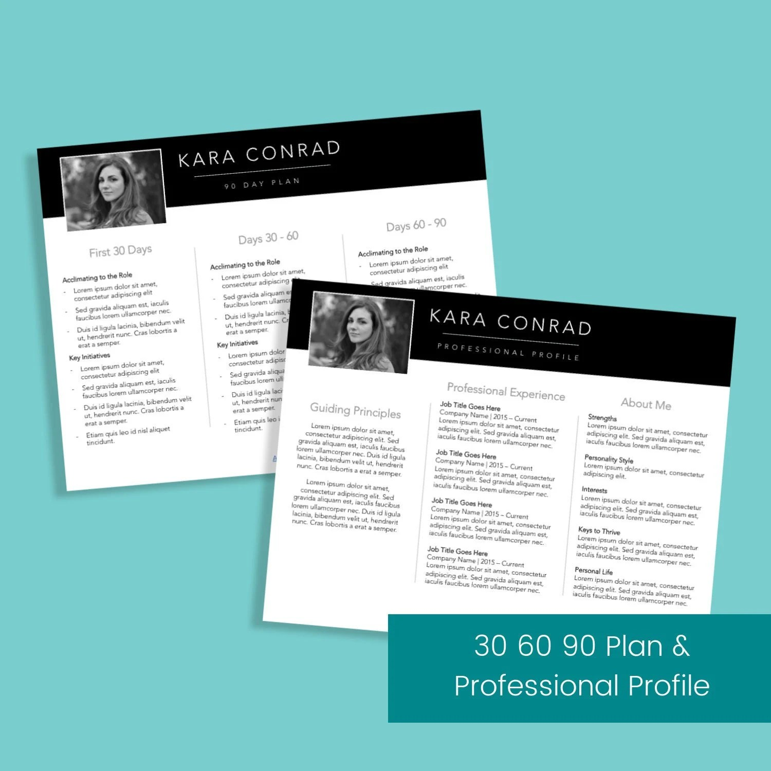 30 60 90 Day Plan and Professional Profile Template Interview Etsy