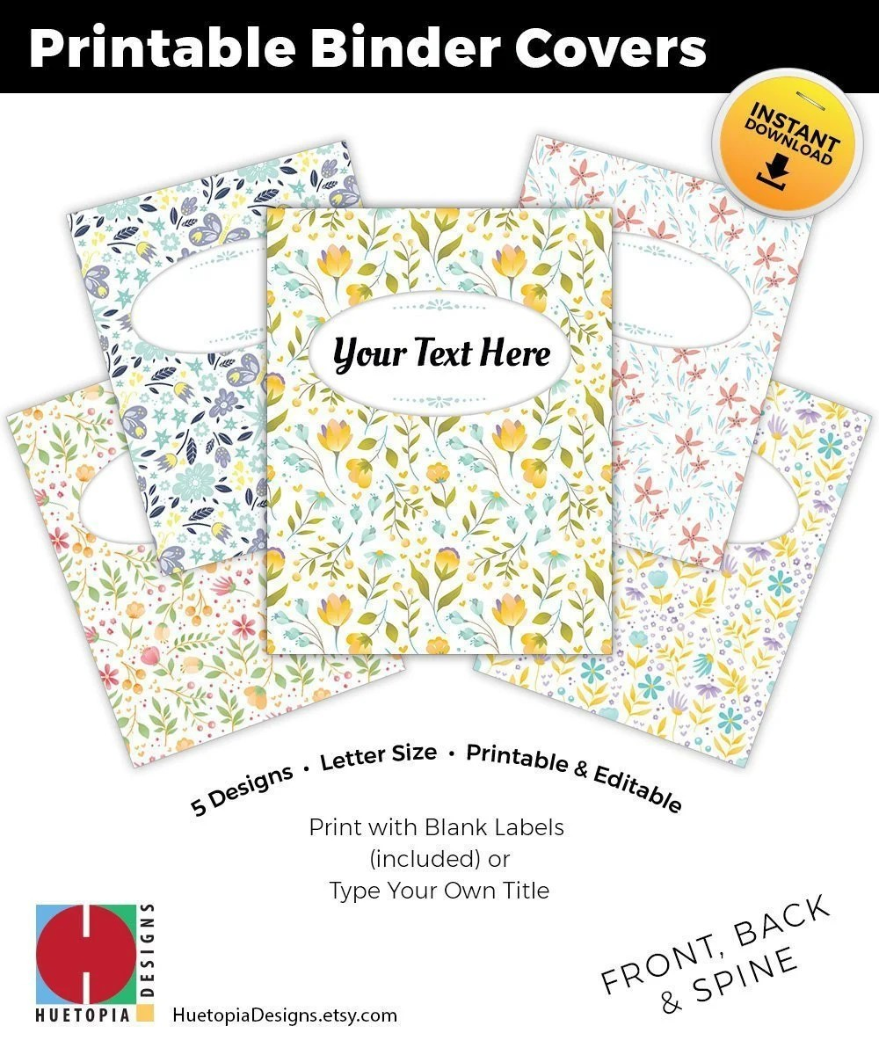 Binder Cover Printable Set of 5 Covers Spines Binder Etsy