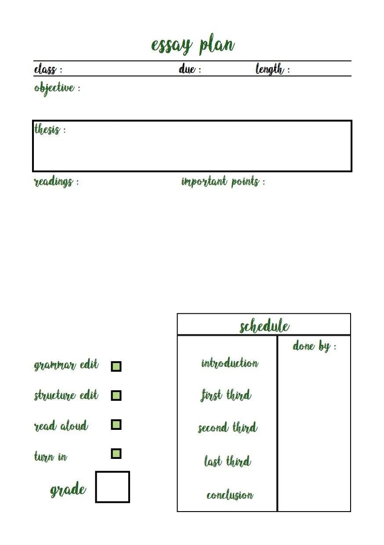 BULLET JOURNAL Simple Essay Plan in Green Etsy