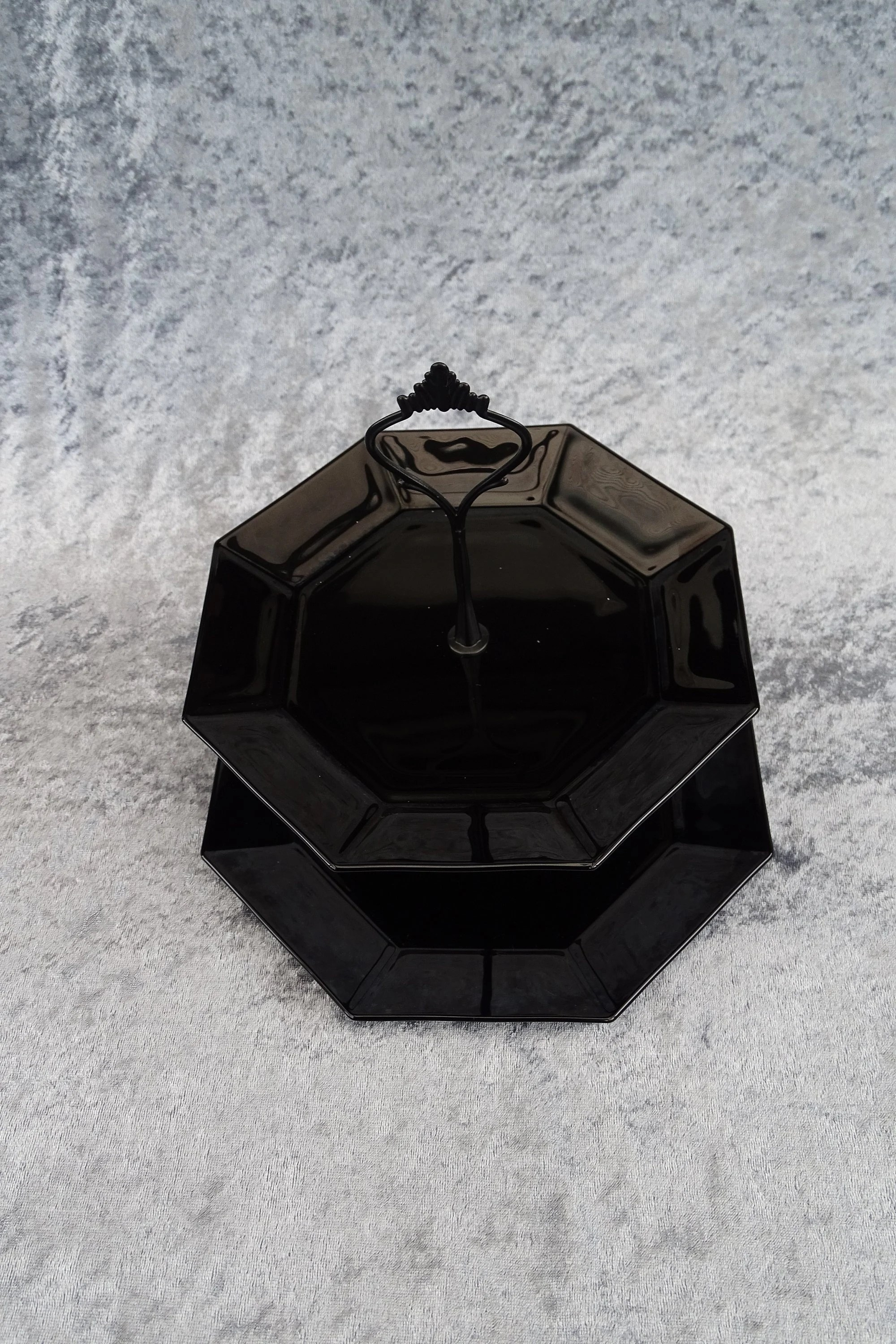 Etagere Englisch Black Étagère 2 Storey Of Octagonal Glass Tableware Jewellery Storage Plate For Cupcakes