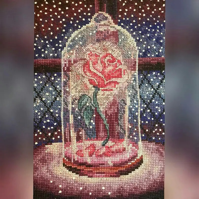 Cross Stitch Pattern The Enchanted Rose DMC Chart Etsy