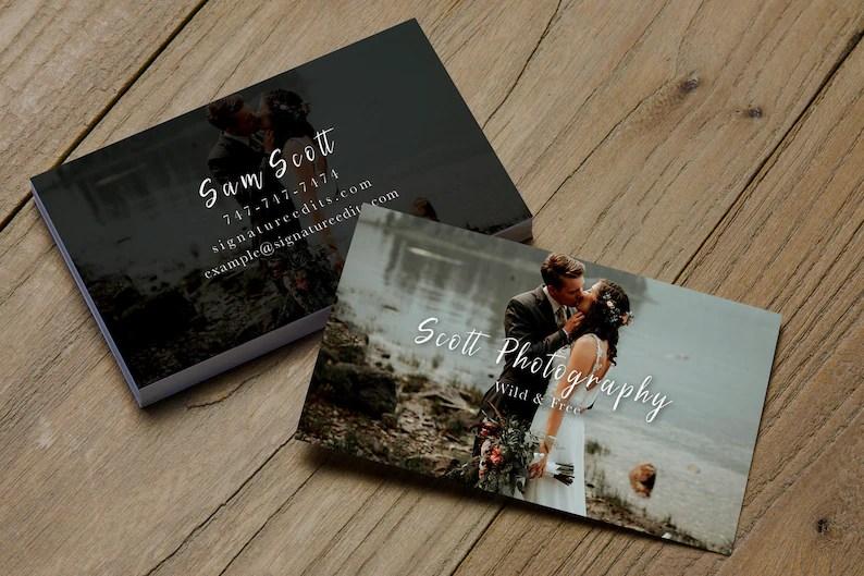 Photographer Business Card PSD Template Wedding Business Etsy